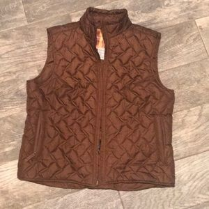 Brown quilted winter vest